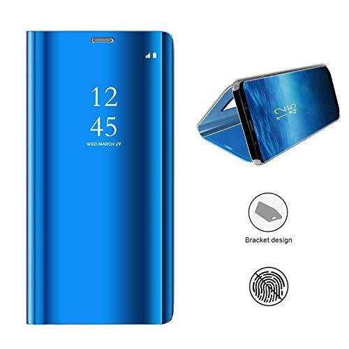 KISCO für Samsung Galaxy A8s Spiegel Hülle,Spiegel Ledertasche Handyhülle Spiegel Schutzhülle Protective Flip Schutzhülle Cover mit Standfunktion für Samsung Galaxy A8s-Himmelblau
