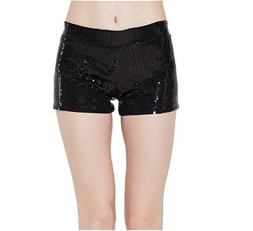 Tiny Time Damen Sequin Shine Glitter Shorts Paillette verschönert Party Kurze Hose (XS, (Sexy Kostüme Rabatt Halloween)