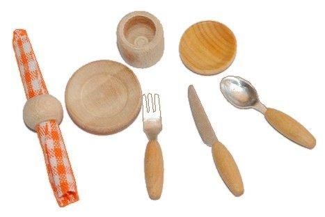 8 tlg. Set Miniatur Gedeck Holz für Puppenstube Puppenhaus Küche Besteck Serviette Teller Becher