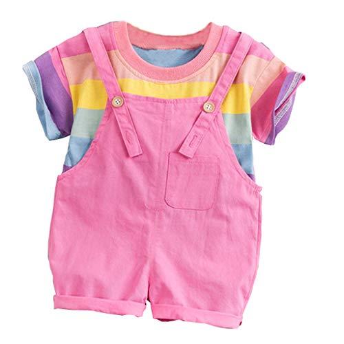Lazzboy Kleinkind Jungen Kinder Regenbogen Streifen Tops T-Shirt Träger Hosen Outfits Set (Rosa,Höhe110)