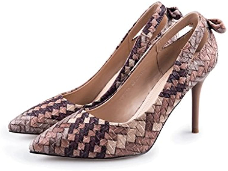 22e2f93cdadee1 Dream Autumn Weaving High Heels Fine Fine Sandals Sandals Sandals Elegant  Ladies Shoes (Color   Brown