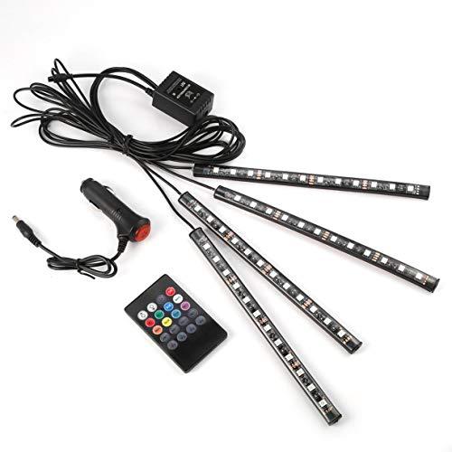 Preisvergleich Produktbild RGB Auto Innenleuchten Kit mit RGB-Controller,  RGB Auto Innenleuchten Kit mit RGB-Controller,  12LED 5W wasserdicht bunten Auto Styling Wireless Remote / Sprachsteuerung Innenboden Fuß Dekoration Licht RGB Neon LampStrip