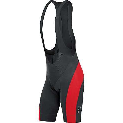 Gore Bike Wear WSPOWE Salopette corta Uomo, Termica e imbottita, GORE Selected Fabrics, POWER short+, Taglia XL, Nero/rosso