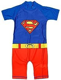 Niño Superman Disfraz Protección del sol Todo en uno Bañador Traje de baño tallas desde 1.5 a 5 Años