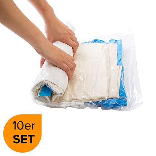 Vakuumbeutel Reise | 10 Stück Aufbewahrungsbeutel | Vakuum Beutel | Rollen per Hand | ohne Staubsauger | kompressionsbeutel | Vacuum Space Storage Bags | Compression Bag // March Brands - Space Saver Wasser