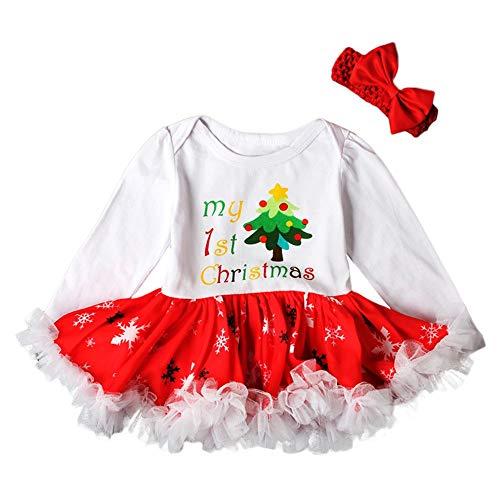 (Kleinkind Kind Baby Mädchen Weihnachtsbaum Outfits Set Neugeborenes Baby Mädchen Brief Prinzessin Tutu Kleider Taufbekleidung 2 Stücke Kleider Haarband)