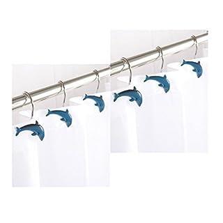 12 x Aqualona Dolphin Porpoise Fish Shaped Shower Curtain Hooks Bath Rail Hooks In Blue