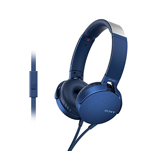 Sony Extra Bass MDR-XB550AP On-Ear Headphones with Mic (Blue)