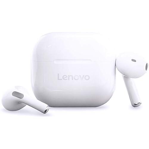LEN0V0 LivePods LP40 Bluetooth 5.0 - Auricolari semi-in-ear con controllo touch, cancellazione del rumore, impermeabili, con interfaccia MIC di tipo C, compatibile con iOS Android, colore: Bianco
