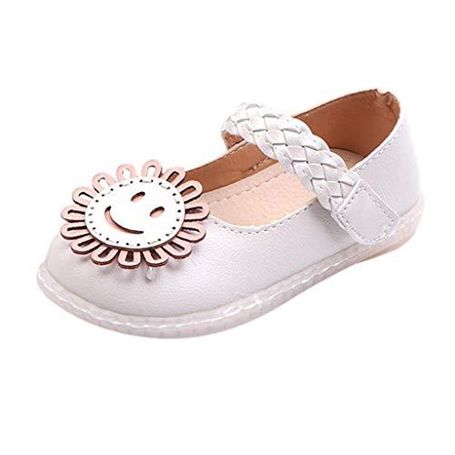 CixNy Kinderschuhe Tanzschuhe Kleinkind Sommer Mädchen Schuhe Karikatur Blumen Und Spitze Einzelne Schuhe Klettband Lederschuhe Lauflernschuhe Mädchen Prinzessin Shoes Hellblau Pink Beige ()