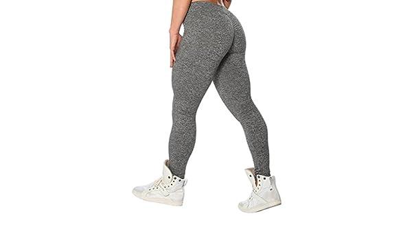 Legging ronamick Madame pur couleur hanches longue section Yoga Pantalon Sport Pantalon Legging Gris Fonc/é gris fonc/é M Polyester