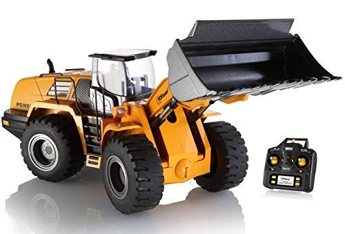 Top Race El tractor de control remoto funcional completo de 10 canales Jumbo Tractor de construcción, Full Metal Bulldozer Toy puede excavar hasta 3.5 lb, escala 1: 14. TR-213