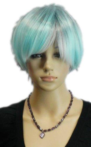 men Perücken Kurzen Rock Punk Gerade Grau Blau Mix Hitzebeständige Faser Synthetische Haar Voller Anime Cosplay Kostüm Perücke ()