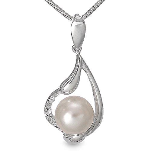Silber Kettenanhänger mit echten perlen Silberschmuck 4,1 cm Anhänger aus 925 Sterling Silber für Halskette, Perlenschmuck Süsswasserperle Damenschmuck #1366