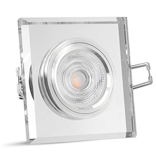 SSC-LUXon® Decken Einbauleuchte Glas LED quadratisch aus Kristallglas klar - mit LED GU10 5W warmweiß 230V - Spot Einbaulampe