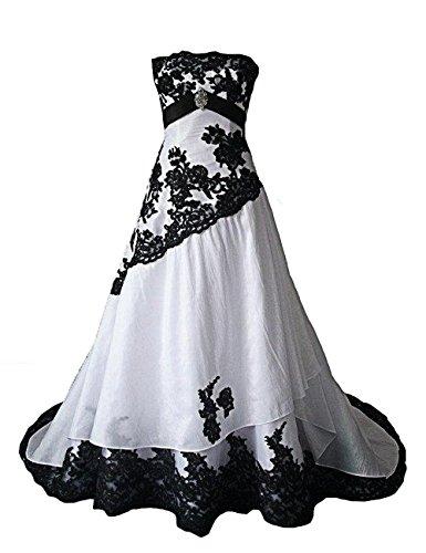 O.D.W Lange Appliques Frauen Vintage Brautkleidere Gotisch Spitze Hochzeitskleider(Schwarz+Weisse,...