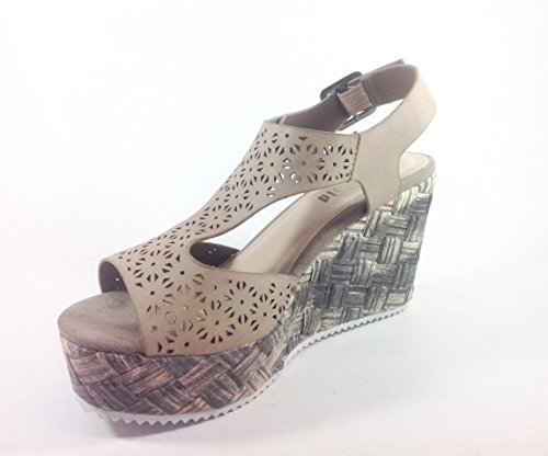 Scarpe donna sandali con zeppa in ecopelle YQ06 Beige