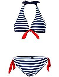 Aidonger Damen Klassich Bikini mit Streifen Pin Up Padded weitere Farben, S-2XL