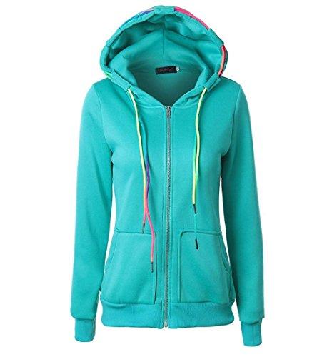 Rcool Mode Damen Hoodie Reißverschluss Kapuzenpullover Sweatshirt Pulli mit Kapuze Mantel Reißverschluss Jacke (XXL, Grün)