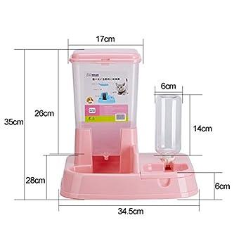 Aosbos 2 en 1 Distributeur Automatique de Nourriture Croquette et d?eau pour Chat et Chien avec Gamelle et Bouteille - 3L Rose