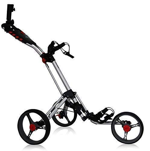 tour-made RT-140 3-Rad Golf Push Trolley Pushtrolley Golftrolley 3-Rad (Silber-grau)