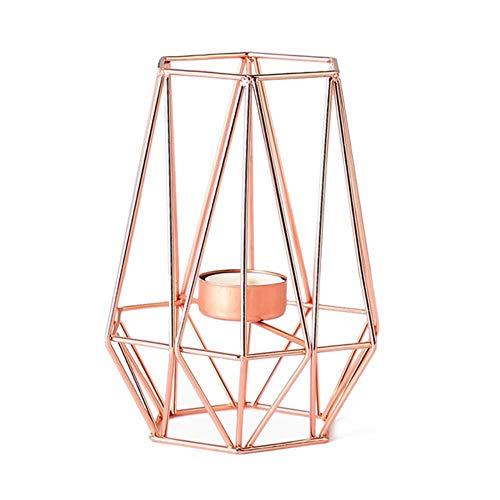 ticc Rose Gold nordischen Stil Schmiedeeisen geometrische Kerzenhalter für den Platz der Kerze Tabelle dekorative Hauptdekoration Metallhandwerk, MJL, China -