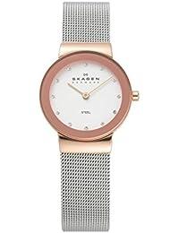 Skagen 358SGSCD Freja - Reloj analógico para mujer de acero inoxidable, sumergible a 30m, plata rosada con circonitas color blanco