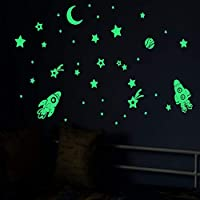 41pcs Starmania Glow in The Dark Stars Moon Sticker Rocket Ceiling Wall Stickers Light Glowing Moon Starry Sky Gift Kids Room Beautiful Wall Decals for Decoration Boy Girls Kids Bedroom Living Room