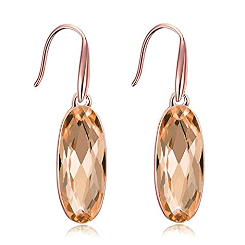 Gnzoe Jewelry 18K Rose Gold Plated Drop Earrings Fishhook Oval Shinny Champagne Crystal Eco