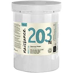 Naissance Huile de Noix de Coco Vierge BIO (n° 203) - 1 litre (1000ml) - 100% pure, naturelle, pressée à froid, arôme gourmand - végan et sans OGM