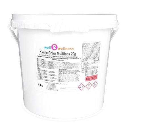 well2wellness Kleine Chlor Multitabs 20g, 5,0 kg - Chlor Tabs Spa Für