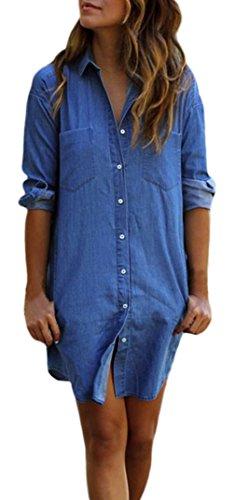 la-vogue-robe-chemise-bleu-blouson-denim-jean-manche-longue-tunique-casual-size4