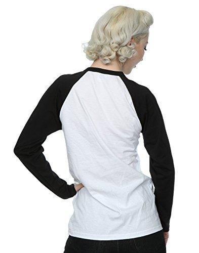 DC Comics Donna Batman Logo Camicia a maniche lunghe da baseball Bianco nero