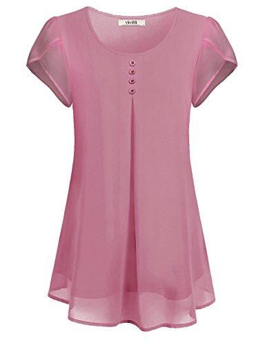 VIVILLI Chiffon Blusen, Sommer Kleidung für Frauen Bequemer Schnitt Schick Kurzarm Einfarbig Arbeit Kleiden Vintage Tunika Shirt Dunkles Pink XXL