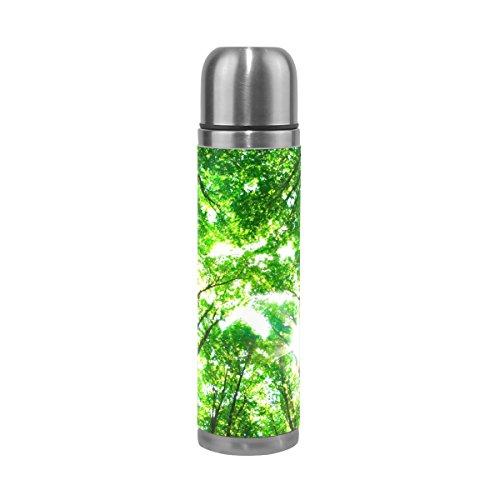 TIZORAX Early Morning Sun die Green Forest doppelwandige Vakuum Becher Isoliert Edelstahl Wasser Flasche Travel Becher Thermos Kaffee Tasse 17oz -