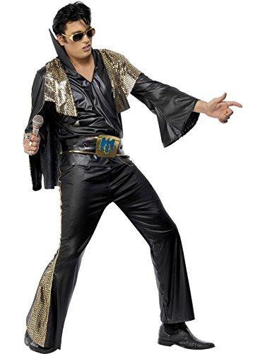Original Lizenz Elviskostüm Kostüm Elvis Schwarz und Gold Rock N Roll King Gr. 48/50 (M), 52/54 (L), Größe:L (Elvis Kostüm Schwarz)