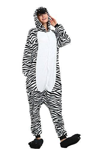 alls Jumpsuits Pyjama Fleece Nachtwäsche Schlaflosigkeit Halloween Weihnachten Karneval Party Cosplay Kostüme für Unisex Kinder und Erwachsene (S, Zebra) ()