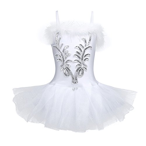 Tanz-Einteiler für Mädchen, Ballerina-Kostüm, Kleid, Tutu für Ballett und Tanz, mit fingerlosen langen Ärmeln und Haarclip, von TiaoBug 10 - 12 Jahre weiß