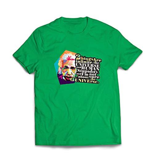 lepni.me Männer T-Shirt Wissenschaftler Physik Albert Einstein Menschliche Dummheit Sarkastisches Zitat (XX-Large Grün Mehrfarben) (Kerl Nerd Kostüme)