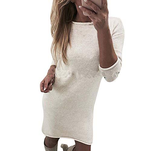 Pulli Kleid Damen, Winter Mode Frauen Fester Rollkragen Strickjacken Langes Beiläufiges Langes Hülsen Pullover Kleid Sunday (Weiß, S) Winter Weißen Kleid