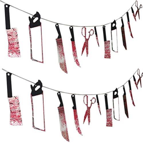 SUPVOX 2 stücke Halloween Blutige Messerschere Hängen Banner Spukhaus Dekoration Halloween Party Supplies 2,2 Mt