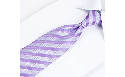 Coffret Dublin - Cravate gris clair parsemée de petits points bleu clair, à rayures bleu marine et bleu clair, boutons de manchette, pince à cravate,