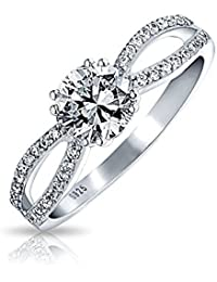 Bling Jewelry Sterling Silver Round CZ Infinity Engagement Ring