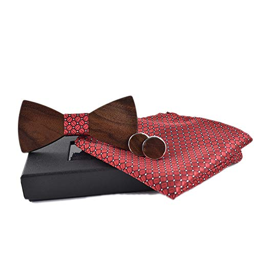 ChenYongPing Pajarita para Hombre Corbata de Lazo de Madera para Adultos, Rojo, Casual, Traje Casual, Mancuernas cuadradas, Corbata, Corbata Pajarita de Cuero para Hombre