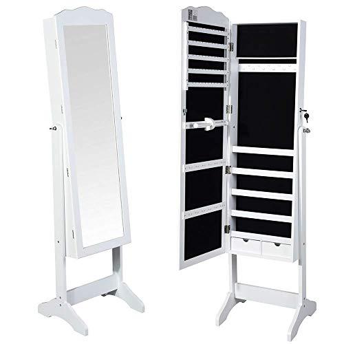 Bakaji specchiera portagioie armadietto portagioielli specchio con anta porta oggetti e cassetti colore bianco, armadio organizer porta gioielli (michela)