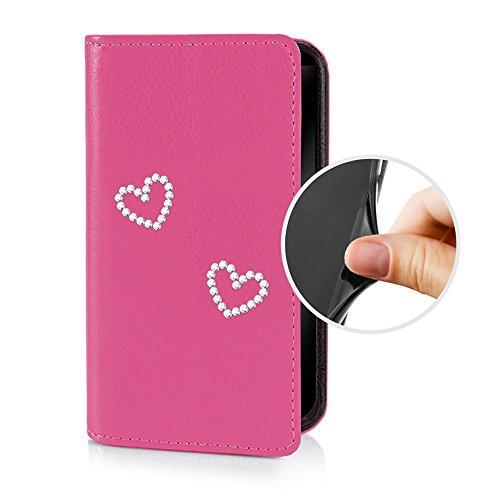 eSPee SZ1cH056 Sony Xperia Z1 compact Schutzhülle Wallet Flip Case Pink mit Strass Herz Herzen Silikon Bumper und Magnetverschluß für Sony Xperia Z1 compact