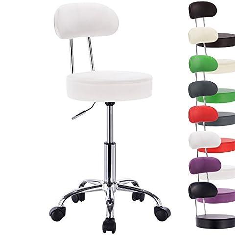 Woltu Faux Leather Gas Lift Swivel Chair Stool White Swivel
