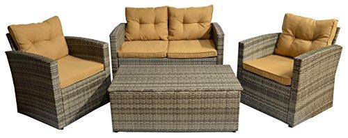 Graues Rattan Gartenmöbel Set aus Polywood inkl. wasserabweisenden Kissen mit zwei Sesseln einer 2-er Bank und einem Tisch mit Staufunktion für die Kissen