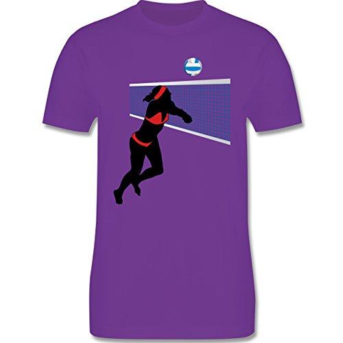 Volleyball - Beachvolleyballspielerin Baggern Netz Ball - Herren Premium T-Shirt Lila