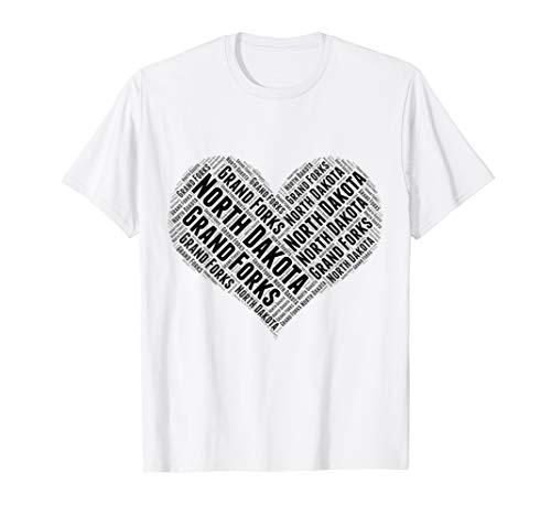 State Heart NORTH DAKOTA Tshirt GRAND FORKS Home Tee -